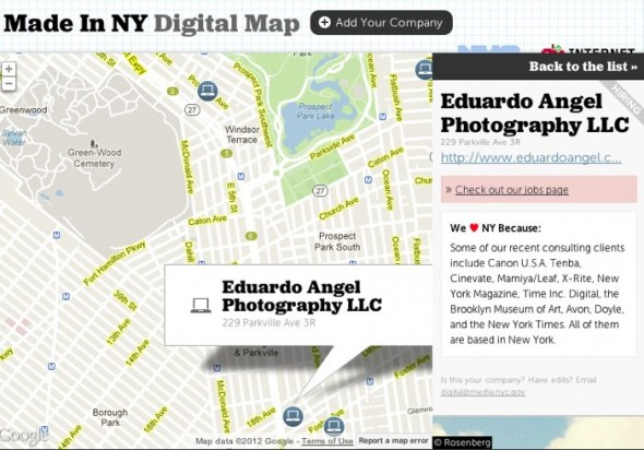 NYC Digital Companies Map